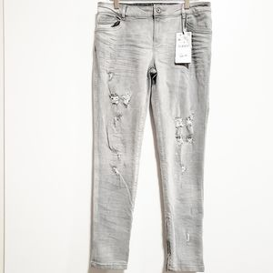 ZARA Denim Gray Distressed Paint Splatter Jeans
